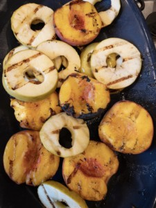 Grilled peaches and apples
