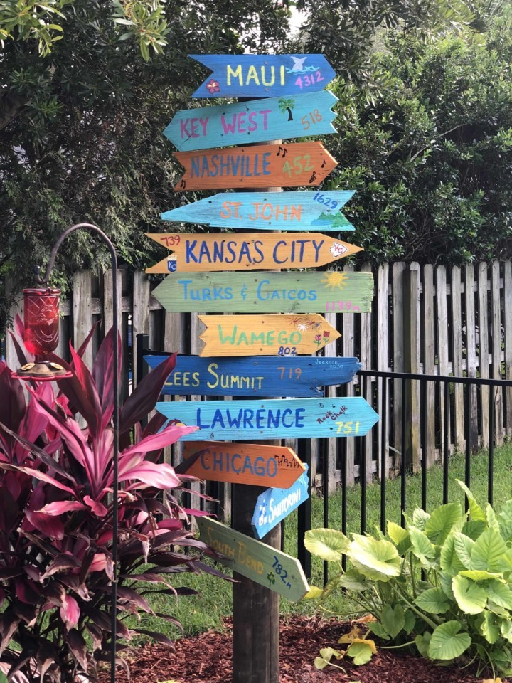 Directional destinations sign post