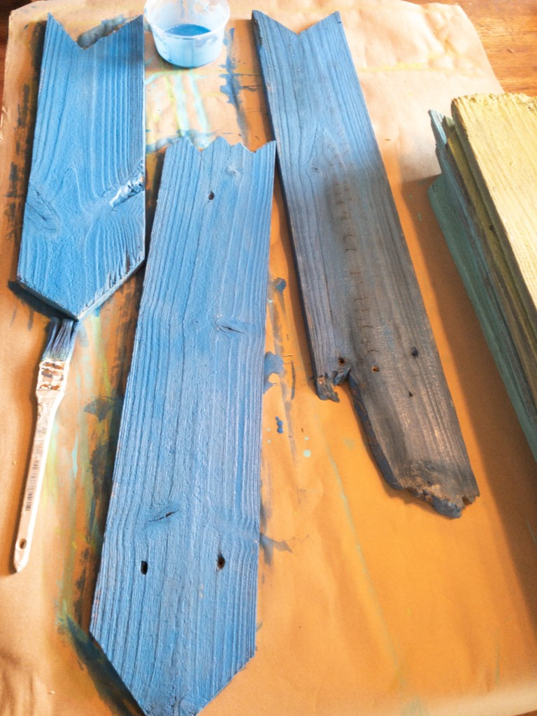 Painted weathered boards