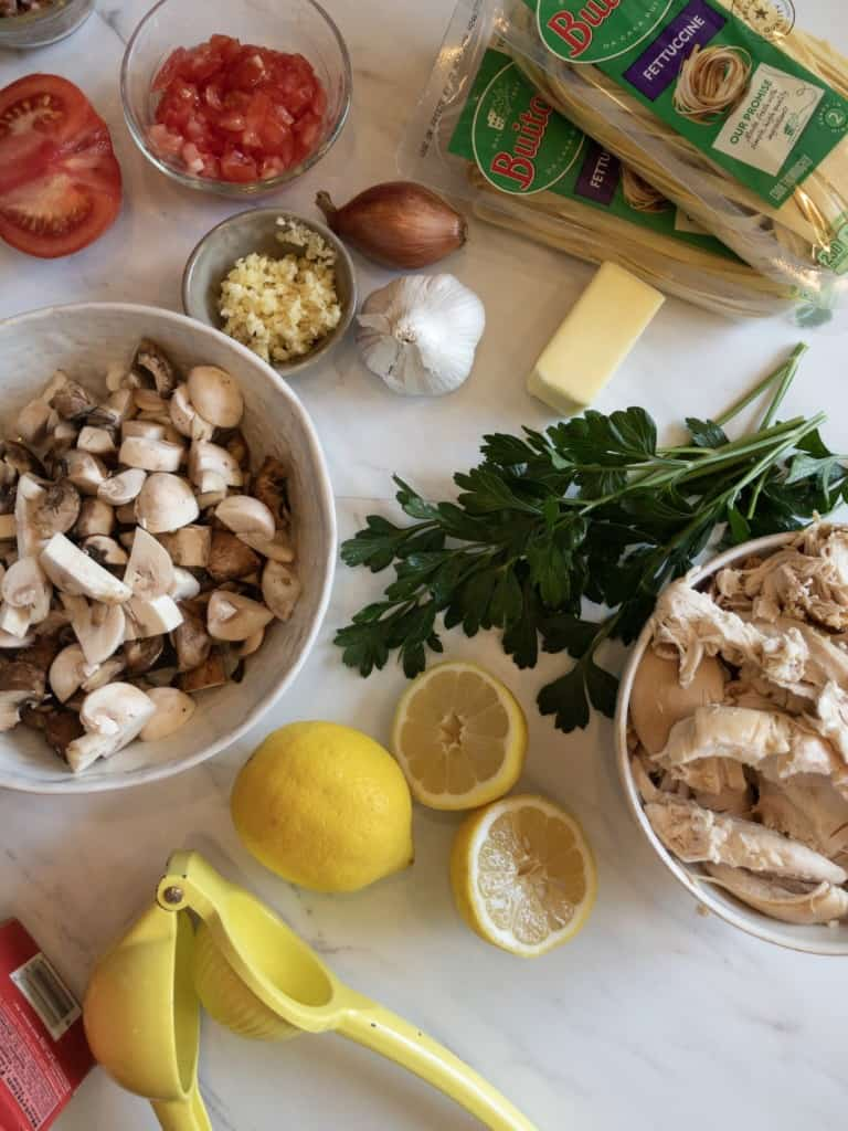 Chopped mushrooms, diced chicken, parsley, lemon, butter and garlic