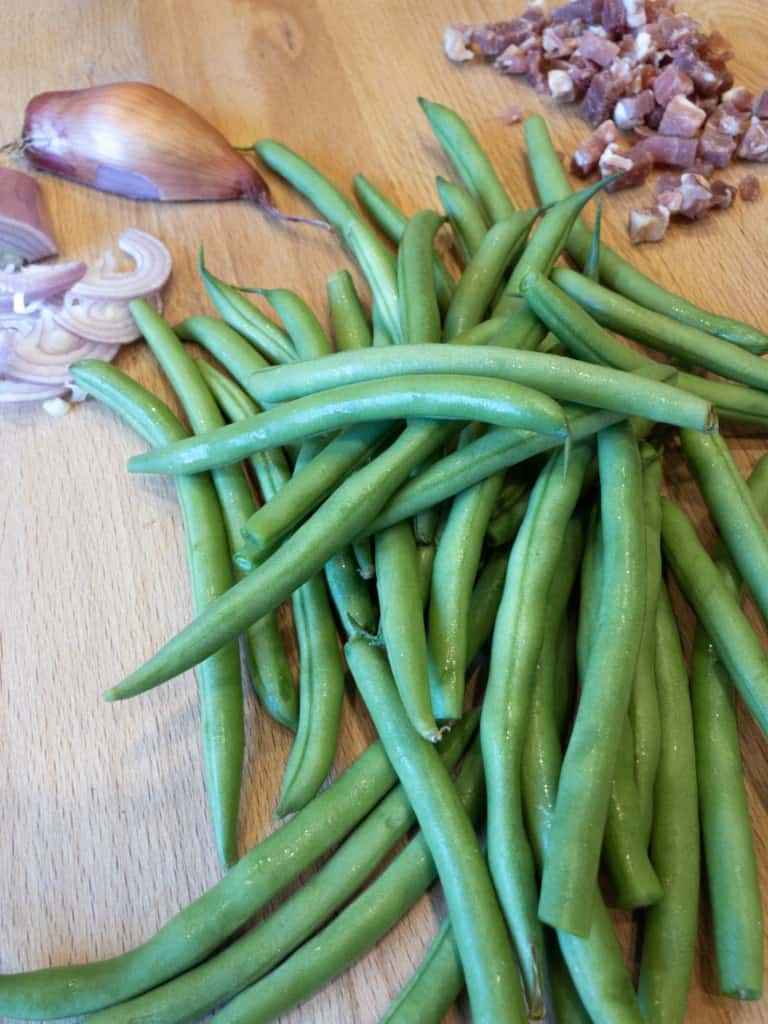 Fresh green beans, shallots and diced pancetta