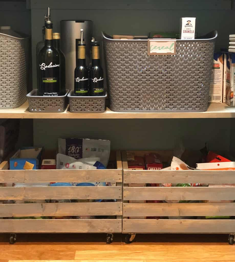 Crates on casters in a pantry